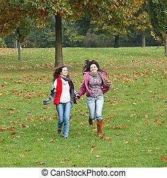 parc, filles, deux, automne, joli, amusement, avoir