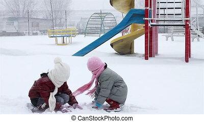 parc, filles, neige, baston