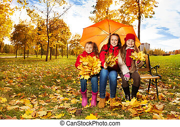 parc, filles, parapluie, autum, sous