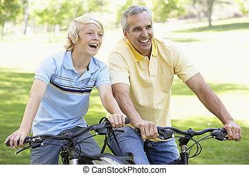 parc, fils, cyclisme, par, père