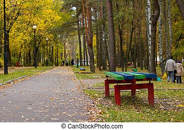 parc, fin, automne, banc, jaune, haut