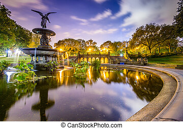 parc, fontaine, central