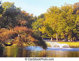 parc, fontaines