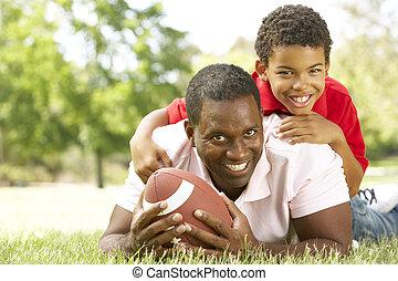 parc, football américain, père, fils