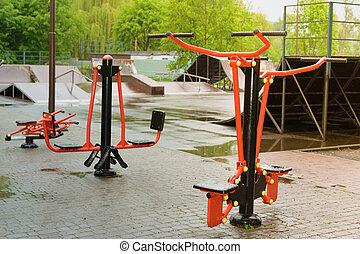 parc, formation, ground., appareil, skateboarding