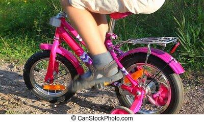 parc, garçon, arrêté, vélo, pedaling