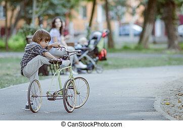 parc, garçon, automne, vélo, heureux