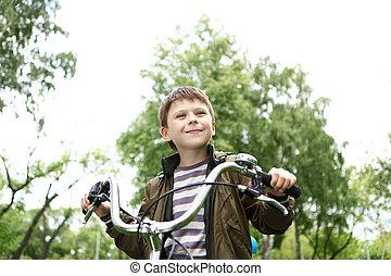 parc, garçon, vélo, vert