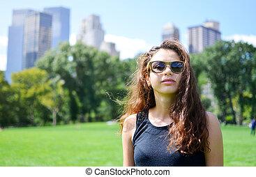 parc, girl, central, york, nouveau
