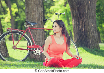 parc, girl, heureux, vélo, arrière-plan.