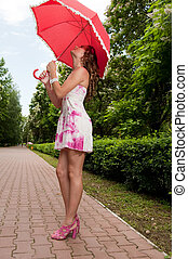 parc, girl, parapluie, jeune