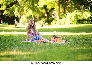 parc, girl, pique-nique, avoir