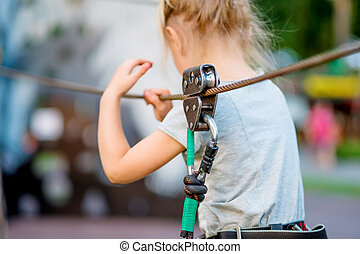 parc, girl, rope-way, brouillé