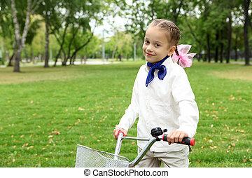 parc, girl, vélo, vert