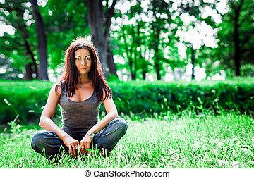 parc, girl, yoga, jeune