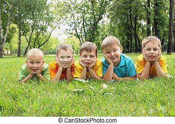 parc, groupe, enfants