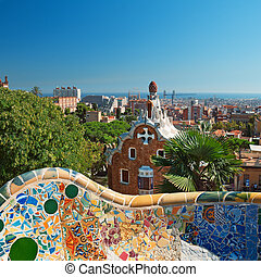 parc, guell, barcelone, -, espagne