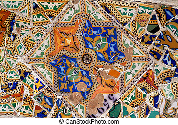 Parc Guell by Gaudi, Barcelona, Catalonia, Spain, Europe. Horizontally framed shot.