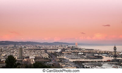 parc guell skyline sunset to night
