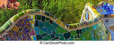 parc guell, spagna, barcellona, mosaico
