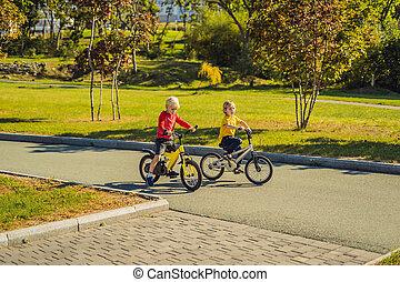 parc, heureux, cyclisme, deux garçons