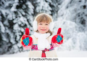 parc, hiver, enfant
