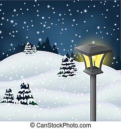 parc, hiver, nuit
