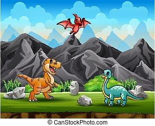 parc, illustration, différent, dinosaures