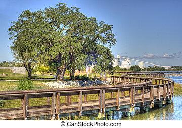 parc, industrie, riverfront, vue