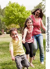 parc jeu, trois, famille