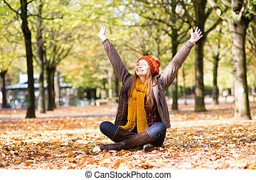 parc, jeune, automne, girl, jour, heureux