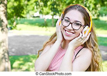 parc, jeune, casque, musique, girl, écouter