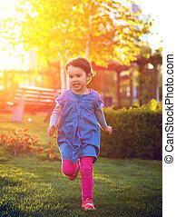 parc, jeune, courant, par, enfant, herbe