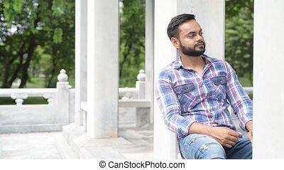 parc, jeune, indien, portrait, homme, beau