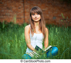 parc, jeune, livre, vert, girl, herbe