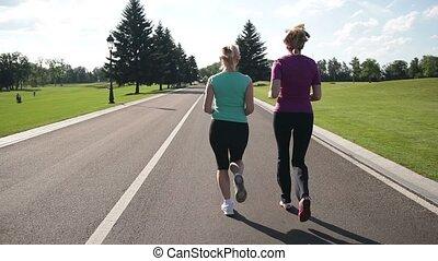 parc, jogging, dos, courant, vue, femmes