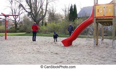 parc, jouer, famille