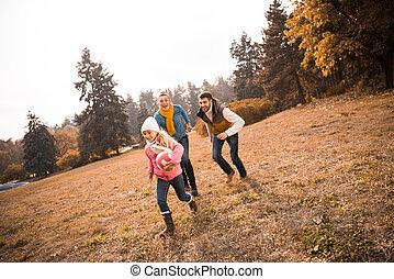 parc, jouer, famille, heureux