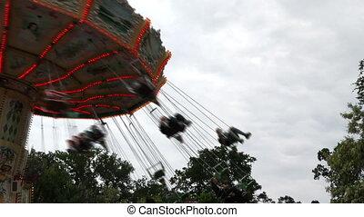 parc juste, endroit, cour de récréation, carrousel, amusement, amusement