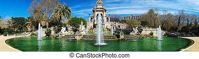 parc, la, ciutadella, de, barcelona, fuente, panorama