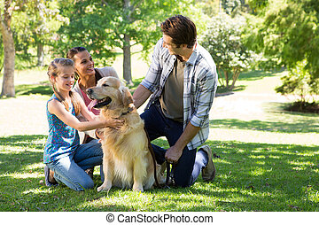 parc, leur, chien famille, heureux