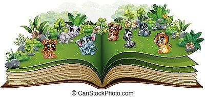 parc, livre, animal, bébé, ouvert, dessin animé