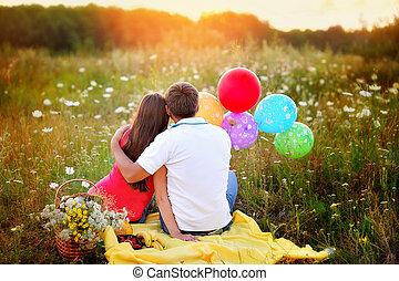 parc, marche, amour, couple, jeune