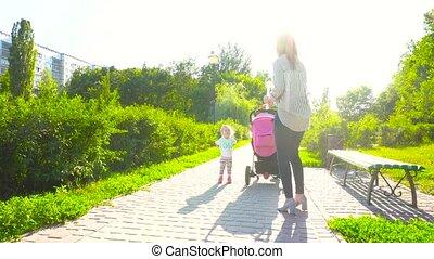 parc, marche, femme, fille, voiture