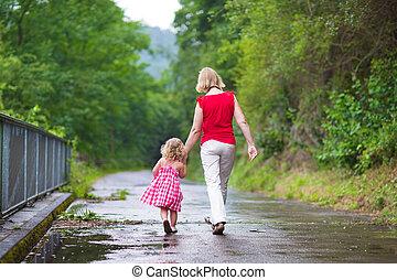 parc, marche, fille, mère
