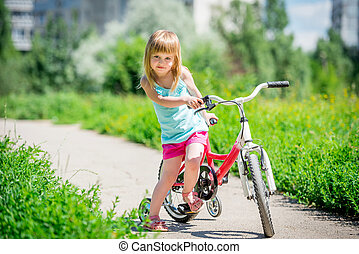 parc, mignon, peu, vélo, girl