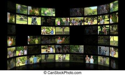 parc, montage, familles, moments, apprécier, été, ensemble