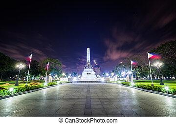 parc, monument, philippines., ermita, nuit, manille, rizal