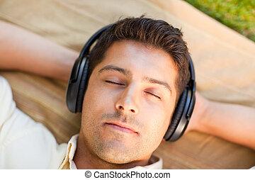 parc, musique, homme, écoute, jeune