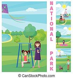 parc, national, balançoire, fille, mère